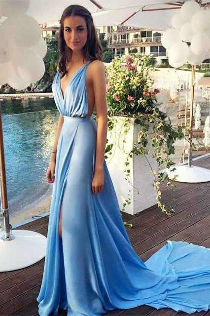 Blue Chiffon 2015 Sexy Summer Evening Dresses with Long Train Deep V Neck Side Slit Open Back Popular Prom Dresses