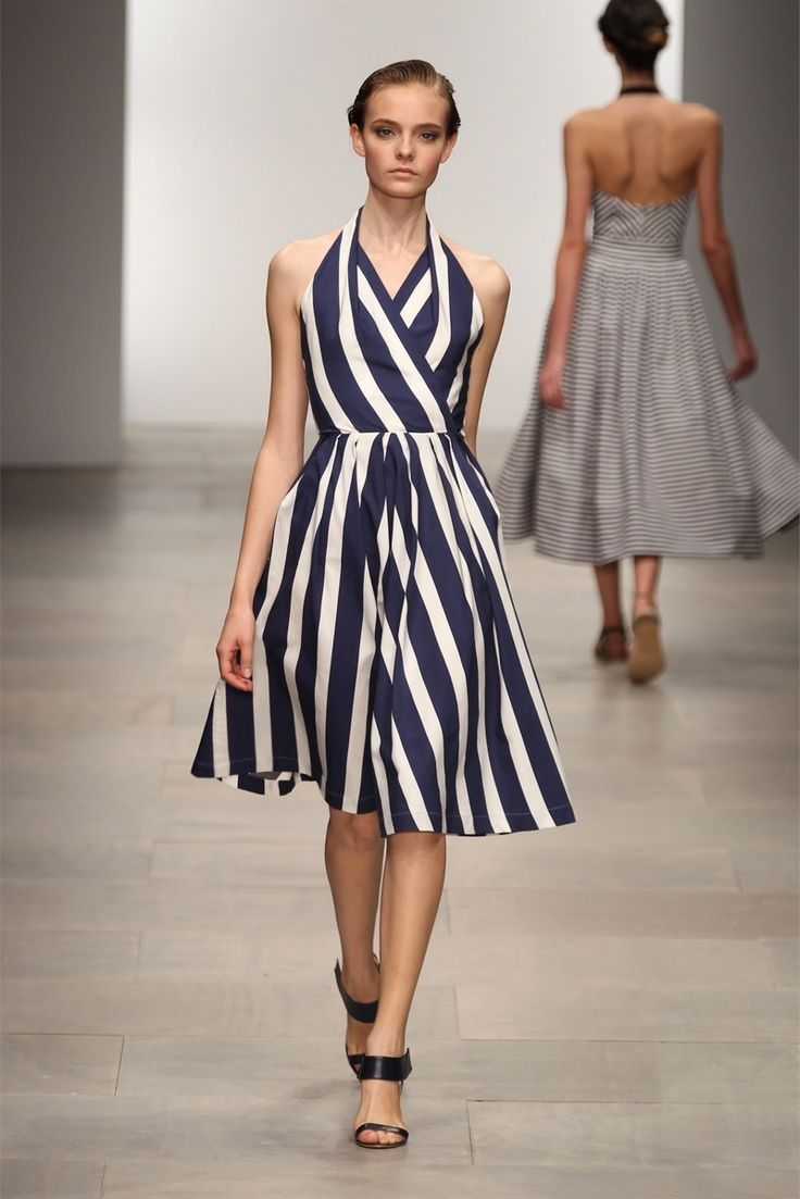 Dress Using Diagonal Lines-White Stripes