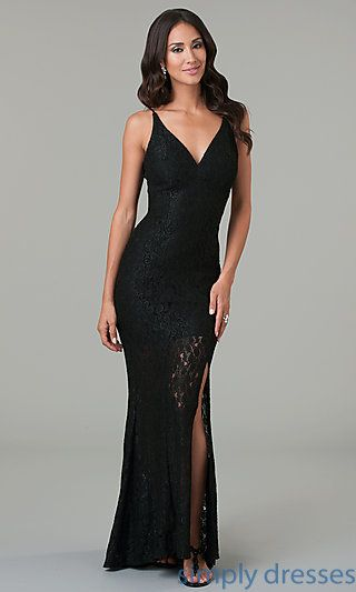 Open Back Black Lace Evening Gown at SimplyDresses.com