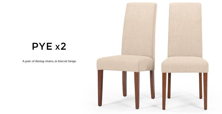 Pair of Pye Dining Chairs in biscuit beige   made.com