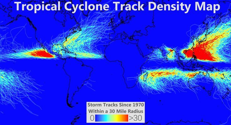 Tropical Cyclone Track Density Map 世界各地における熱帯低気圧の襲来の頻度を示した地図。1970年以降に熱帯低気圧が半径30マイル(約50km)の範囲を通過した回数を示し、色が赤いほど高頻度。東アジアの台風が非常に目立つ。メキシコ西方の海域にも高頻度の範囲がある。 https://twitter.com/ogugeo/status/352716756357353473