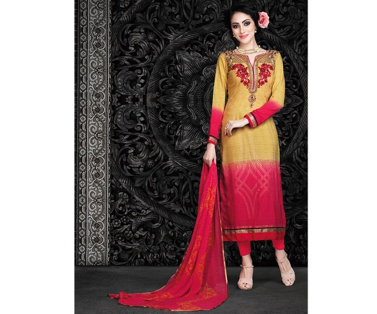 Magenta and Beige Straight Salwar Kameez Crepe Suit