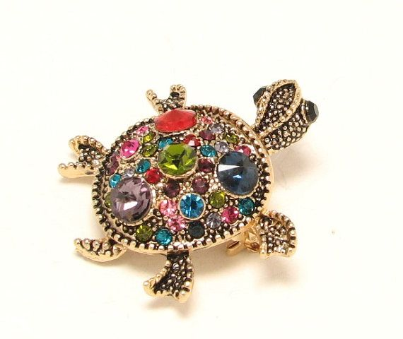 Small turtle brooch crystal jewelry component Hijab by LiasJewelry