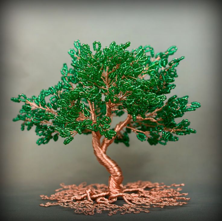 Copper wire tree with glass seed beads