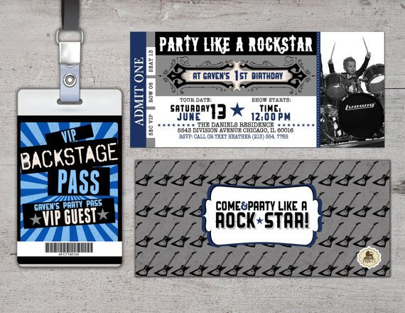 ROCK STAR concert ticket birthday party invitation by LyonsPrints