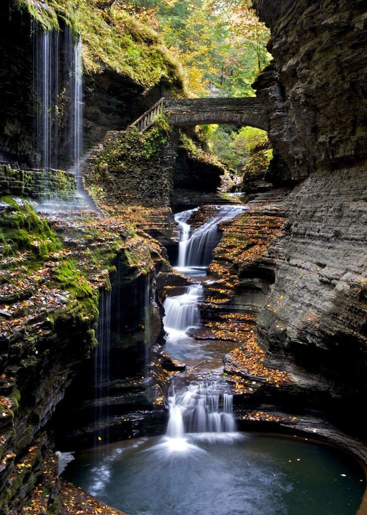 Watkins Glen Gorge Rainbow Bridge, New York Photograph by Peter Rivera