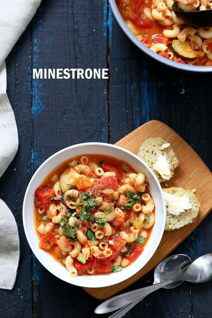 Vegan Minestrone - White Bean Soup with Elbows, Veggies, Basil and vegan parmesan. Can be gluten-free, nut-free. Soy-free Vegan Dairy-free Recipe   VeganRicha.com