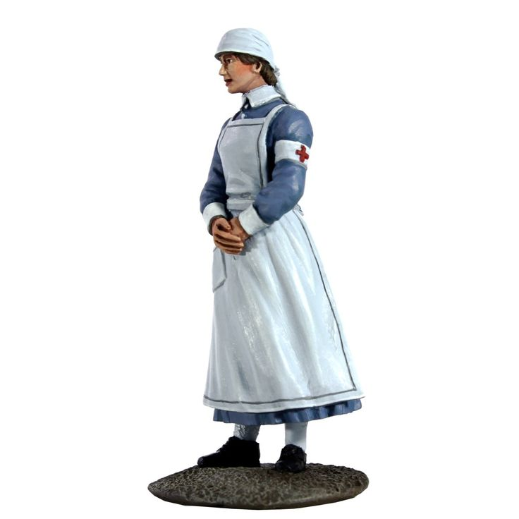 WW1 Nurse Figurine. A tribute to the brave nurses of WW1 who provided so much comfort to those injured on the front line. In die-cast metal and then carefully painted by hand, she stands 2.2''