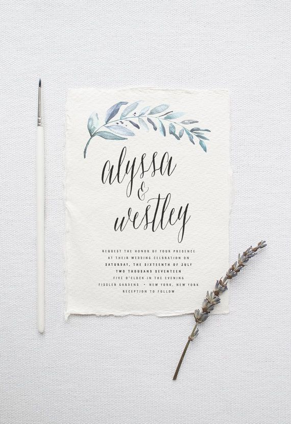 Organic Wedding Invitation Suite DEPOSIT, DIY, Rustic, Calligraphy, Bohemian, Garden, Custom, Watercolor, Outdoorsy (Wedding Design #81)