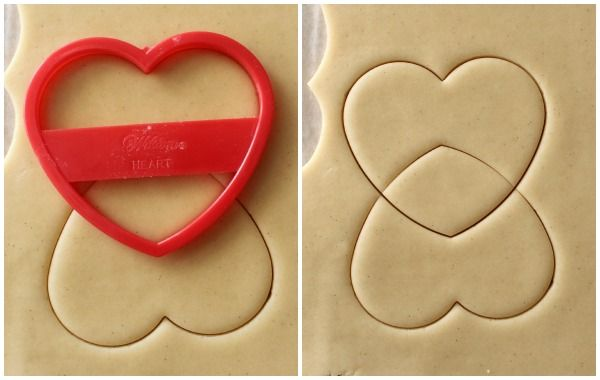 Cookies decorated to look like bras or bikini tops (pin 3 of 3).  Use a  heart-shaped cookie cutter to cut out the dough, then turn the cutter around and use it again on the same cookie.