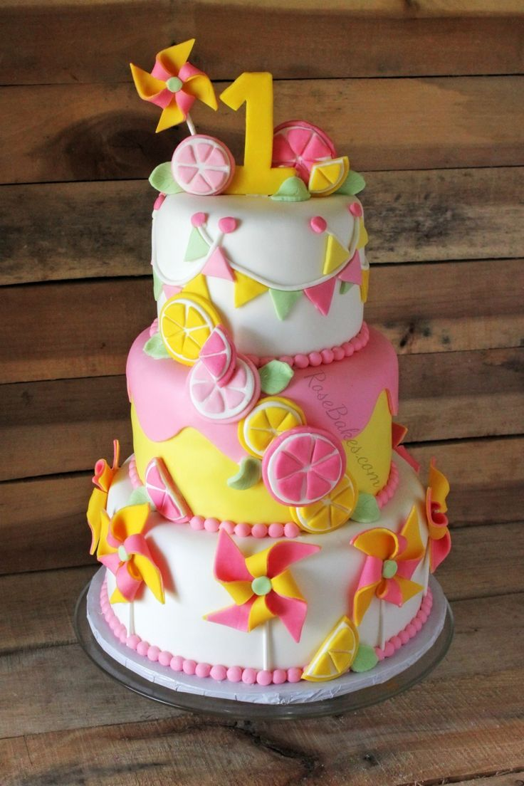 Pinwheels Amp Pink Lemonade Twins 1st Birthday Cake