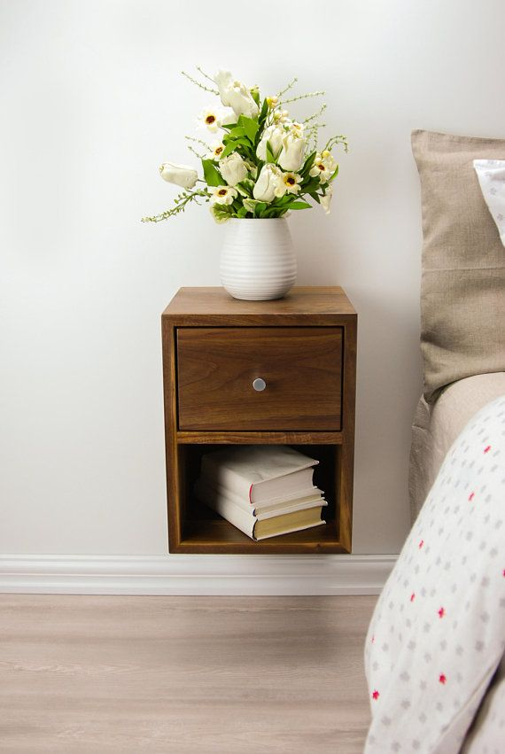 Compact Floating Nightstand With Drawer And Open Shelf Walnut Wood Hanging Bedside Tabl Floating Bedside Table Bedside Table Scandinavian Floating Nightstand