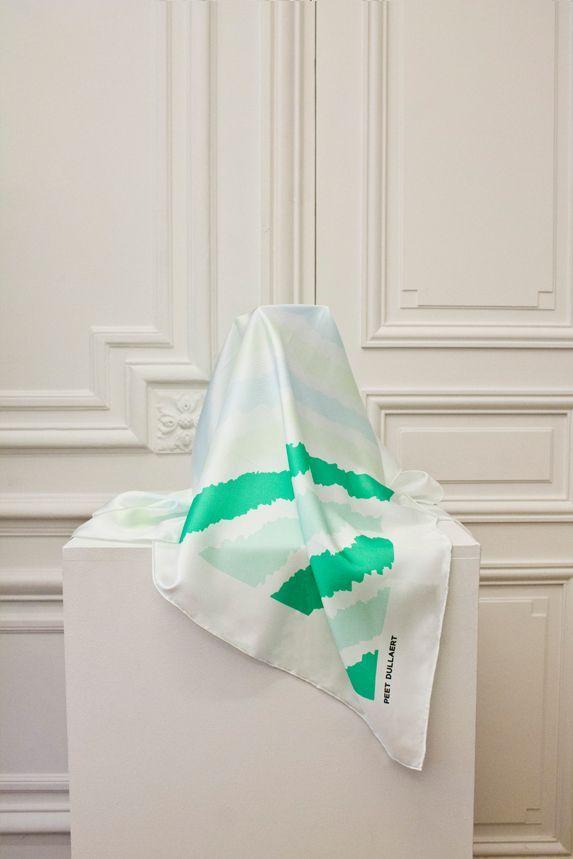 PEET DULLAERT | Shop Online - Signature print silk scarf - Green/Blue