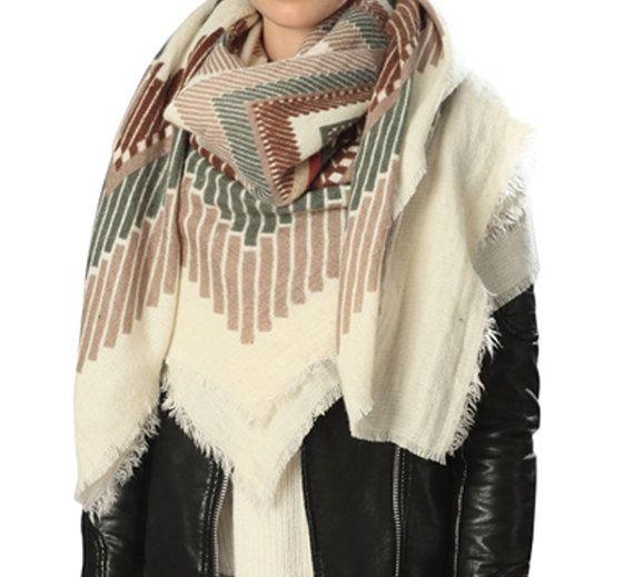 Geometrische Muster Decke Boho Schal Schal von ClaireIsabelleDesign