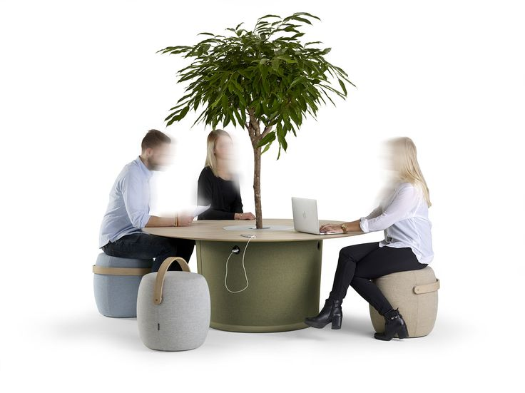 """ON POINT by Mattias Stenberg """"The On Point table is a further development of the ideas that originated from the Carry On stool, my first project for Offecct, which we launched three years ago, and which has been a nice success. The series is based on the idea of the informal meeting  in a workplace or a public space, for example an airport. With their very obvious handles, the stool provoke mobility and spontaneous meetings. The table is designed to allow full  contact between... Offecct."""