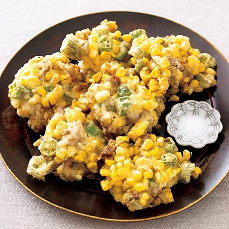 とうもろこしと豚こまのかき揚げ | 重信初江さんの天ぷら・かき揚げの料理レシピ | プロの簡単料理レシピはレタスクラブニュース