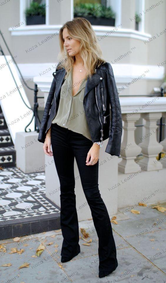 HOT Women's Genuine Lambskin Real Leather Motorcycle Slim fit Biker Jacket WN208 | eBay #clothing #fashion #bomberjacket #motorcyclejacket #bikerjacket #kozaleathers