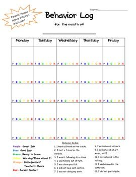 This easy to use behavior log was created to be used with the clip chart system. Simply circle the letter that indicates the student's color for the day. Behavior codes are included on the calendar for quick explanation of student's behavior.  I left it customizable for each month.