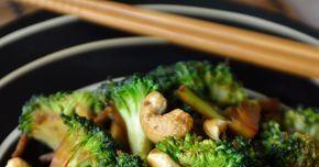wok,poêlée,brocoli,noix de cajou,huile,sauce soja,gingembre,ail,cuisine asiatique,facile,rapide,sain,vitamines,brocoli sauté, broccoli stir fry,végétarien, végétalien