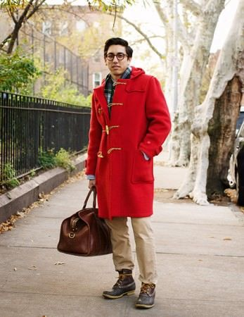 F.E. Castleberry in red Gloverall duffle coat