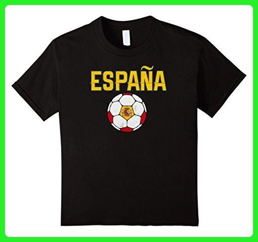 Kids Spain Soccer Ball Jersey T Shirt for Patriotic Boys or Girls 4 Black - Sports shirts (*Amazon Partner-Link)
