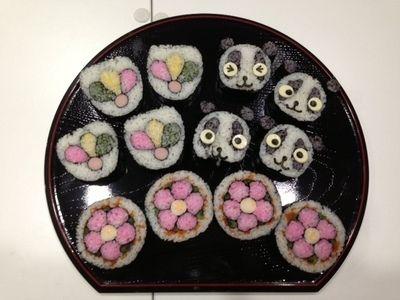 飾り巻き寿司 出張lesson お正月! 花・ミニパンダ・羽根つき 伊丹アントン様 sushi