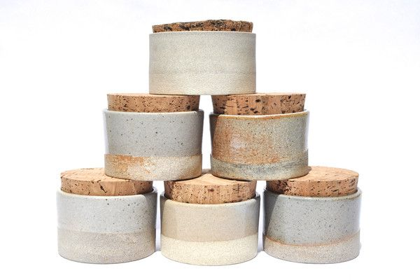 Humble Ceramics Canisters: food safe with sustainable cork top by Humble Ceramics in Los Angeles.