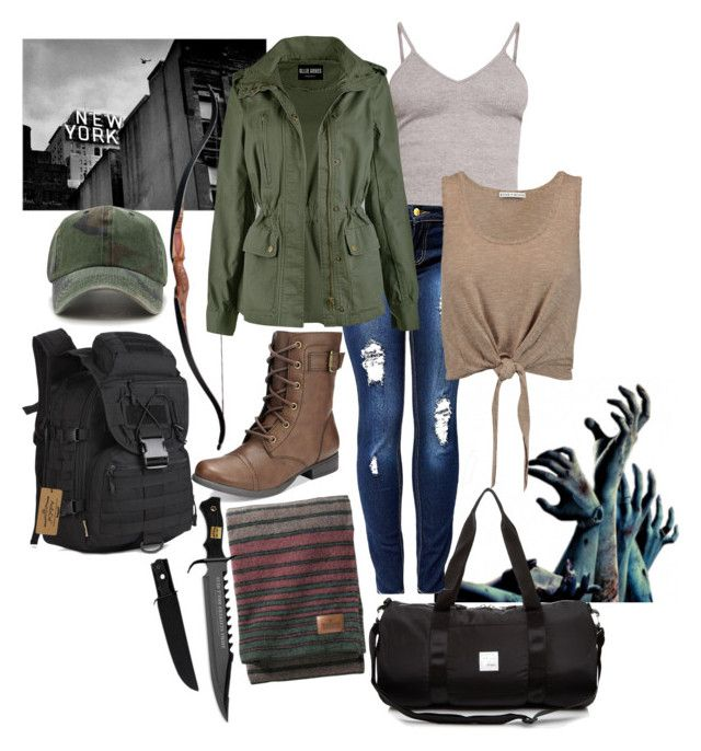 """zombie apocalypse: new York, usa"" by haylee-borthwick ❤ liked on Polyvore featuring Martin Archery, Pendleton, Herschel Supply Co., American Rag Cie, BasicGrey, Alice + Olivia and Forever 21"