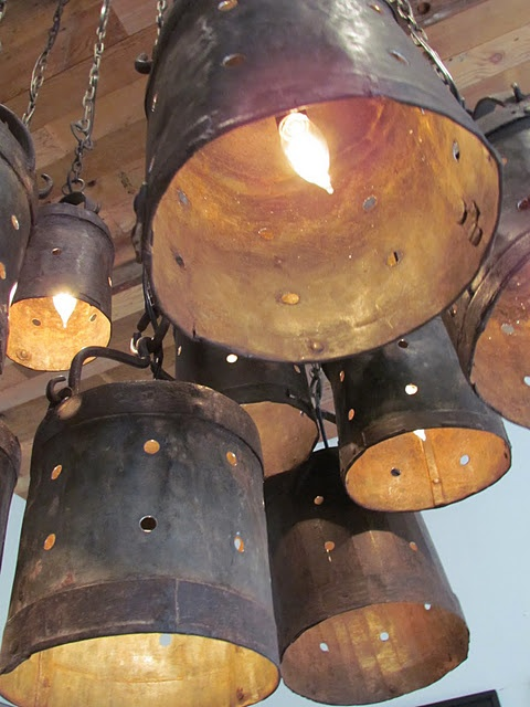 industrial bucket luminaries -- I have some old metal buckets from my grandfather's house... I see a project in my future!