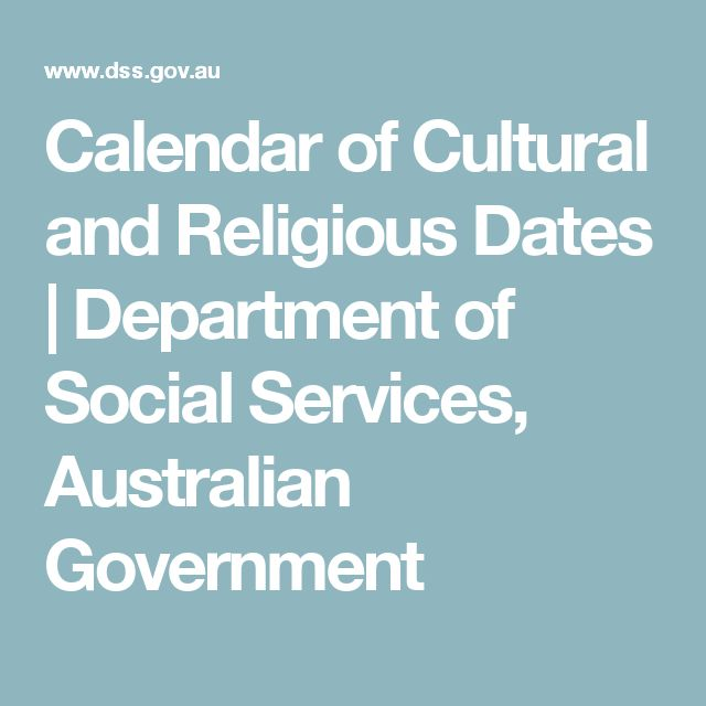 Calendar of Cultural and Religious Dates | Department of Social Services, Australian Government