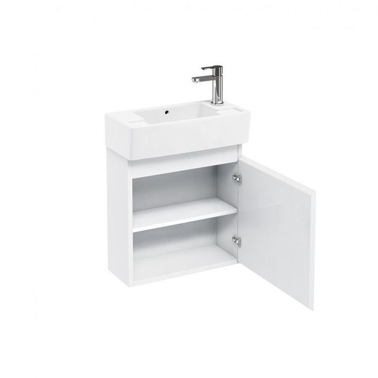 Britton Bathrooms Compact 25cm Depth Wall Mounted Cloakroom Vanity Unit