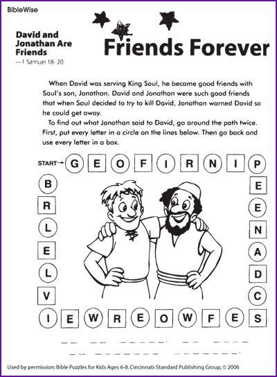david and jonathan friendship worksheet good for david part 2 biblewise kids korner - David Jonathan Coloring Pages