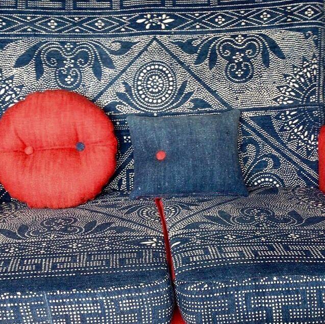 indigo upholstery and soft furnishing for Kazari + Ziguzagu.