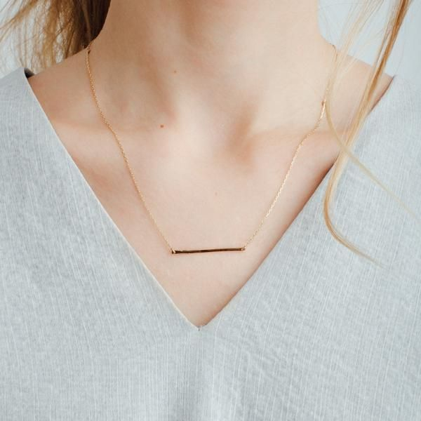 Gold Bar Necklace - Yellow Gold – AUrate New York