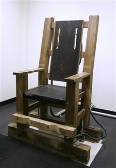 Old Sparky, the electric chair used at Sing Sing prison. A perfectly hideous idea created by twisted minds.