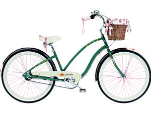 Teal bike with wicker basket and cherry red spokes