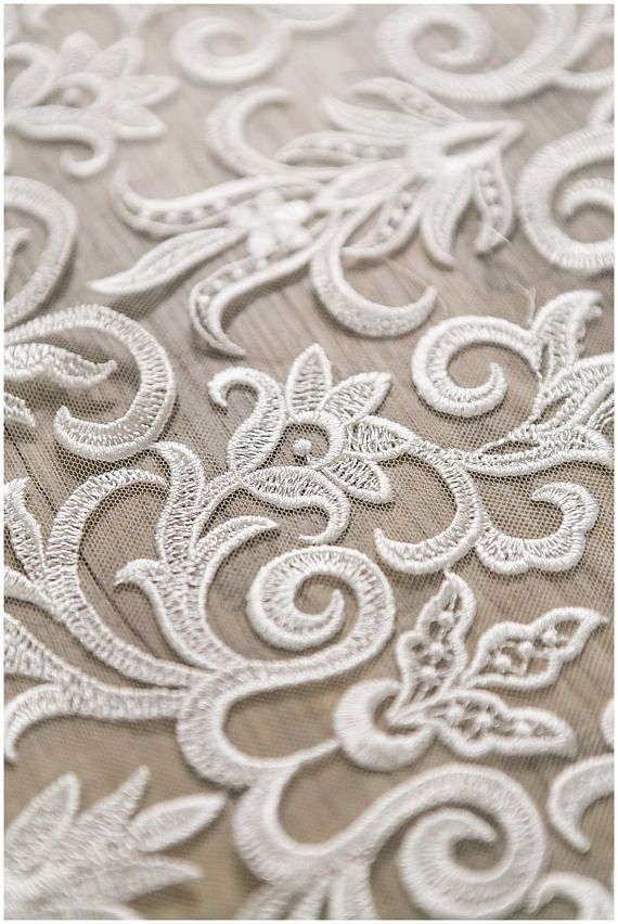 Heavy embroidered Ornament Flower Bridal Lace, wedding dress lace fabric, Floral Lace Fabric, Veil lace, Alencon Lace fabric - (CLF392)