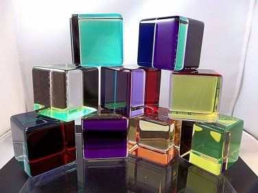 9 Modern Vasa Mihich Cast Acrylic Lucite Prism Blocks Cubes Sculptures 2576