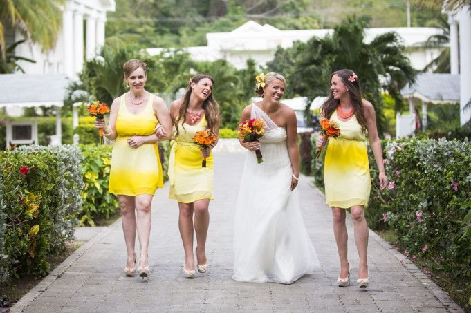 Bride and bridesmaids wearing yellow dresses by @Hitched Studios  | Two Bright Lights :: Blog