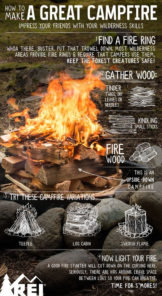 Camping hack! How to make a great campfire.