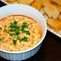 Hot Crawfish Dip - Hot and cheesy crawfish dip served up with toasty baguette slices!
