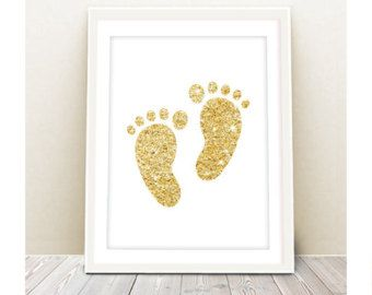 glitter baby footprints