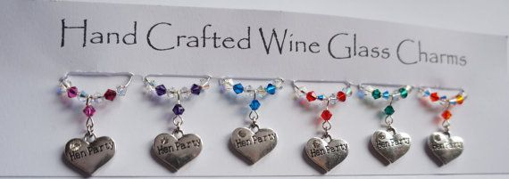 Hen Party Wine Glass Charms Heart Wine Glass by Makewithlovecrafts