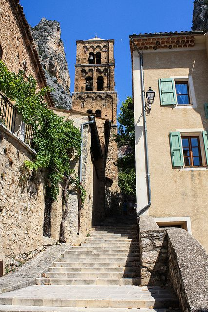 Steep Steps in The Hillside Village of Moustiers-Sainte-Marie, Provence