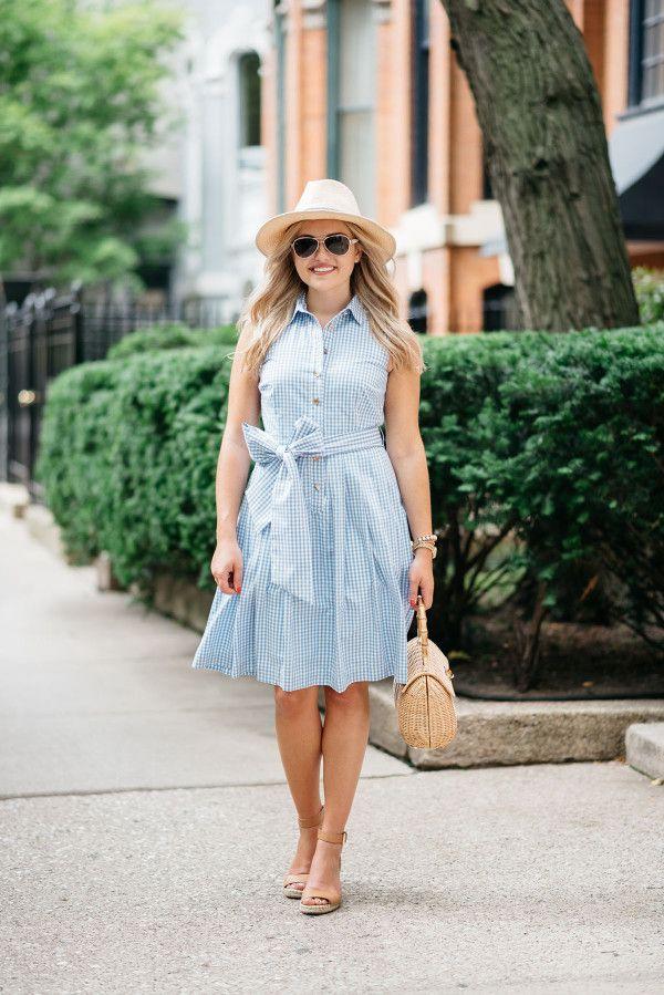 Elizabeth McKay Blue and White Gingham Dress — bows & sequins