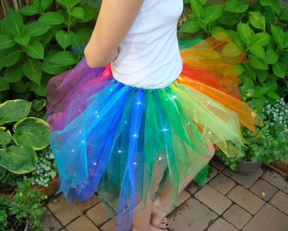 Based off the beautiful Grand Prismatic hot spring in Yellowstone, this colorful tutu will brighten anyones day with 60 LED fairy lights.    This