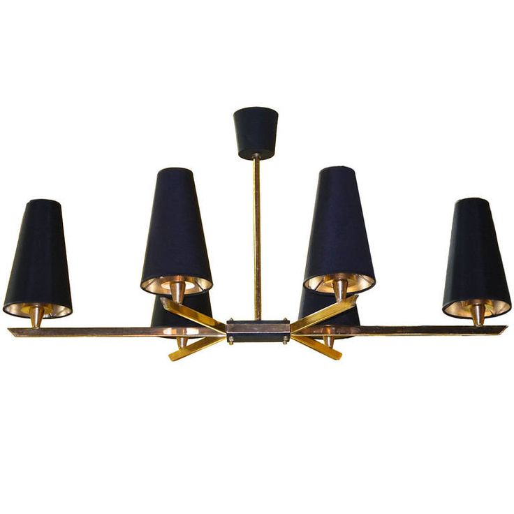 French 1950's Linear Six Light Brass Chandelier | From a unique collection of antique and modern chandeliers and pendants at https://www.1stdibs.com/furniture/lighting/chandeliers-pendant-lights/