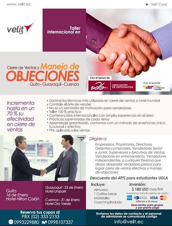 Taller de Cierre de Ventas y Manejo de Objeciones con descuento de 40% a estudiantes Udla por convenio con Velit Corp.