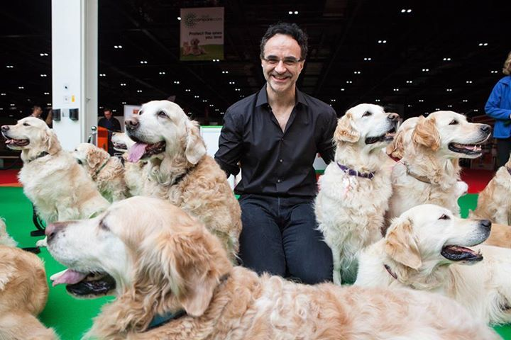 Noel and the gorgeous retrievers at this years' London Pet Show.