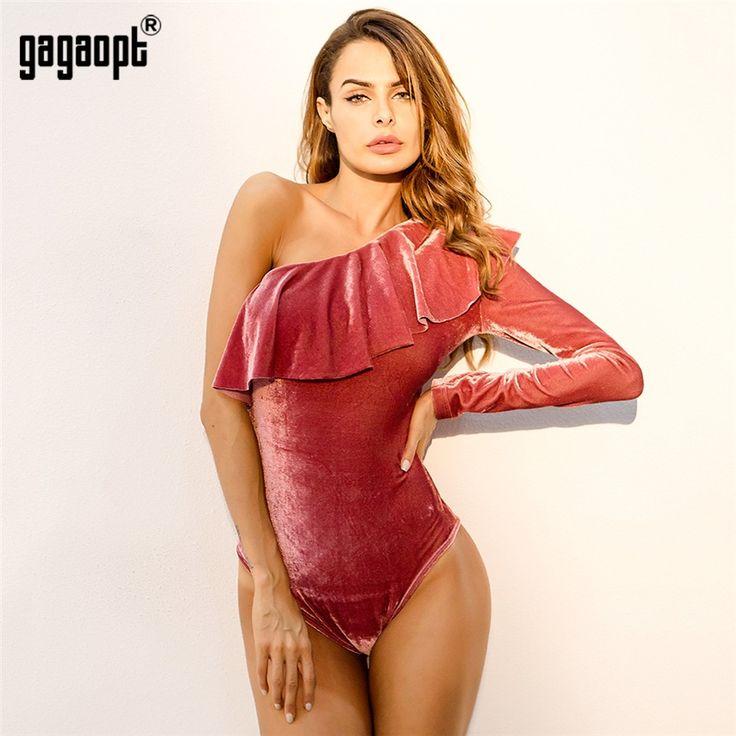 Gagaopt Women Off One Shoulder Slim Bodysuit Pink Ruffles Ladies Playsuit Rompers Sexy Female Bodysuit Combinaison Femme